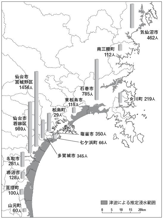 図 宮城県津波被災状況と各地の外国人登録者数