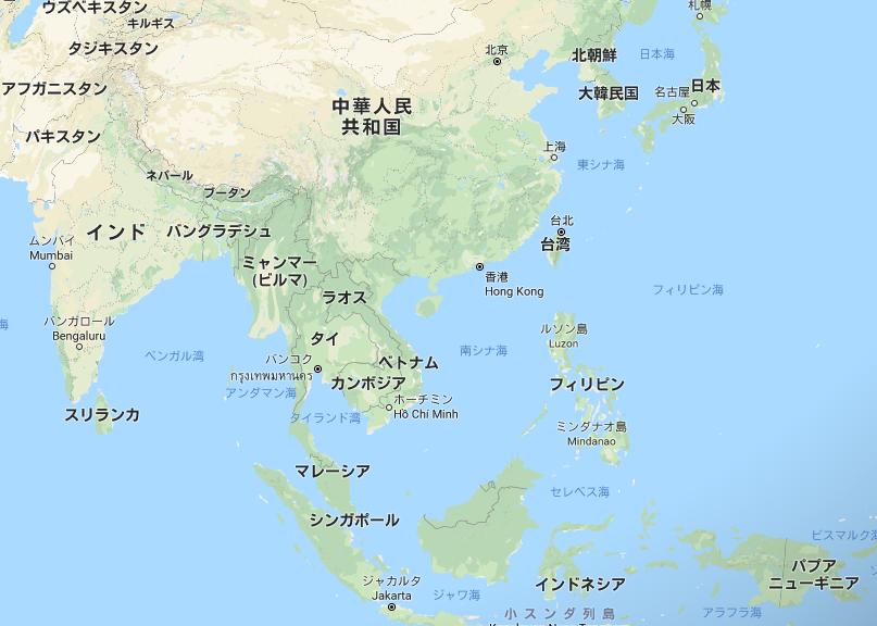 地図 アジア諸国