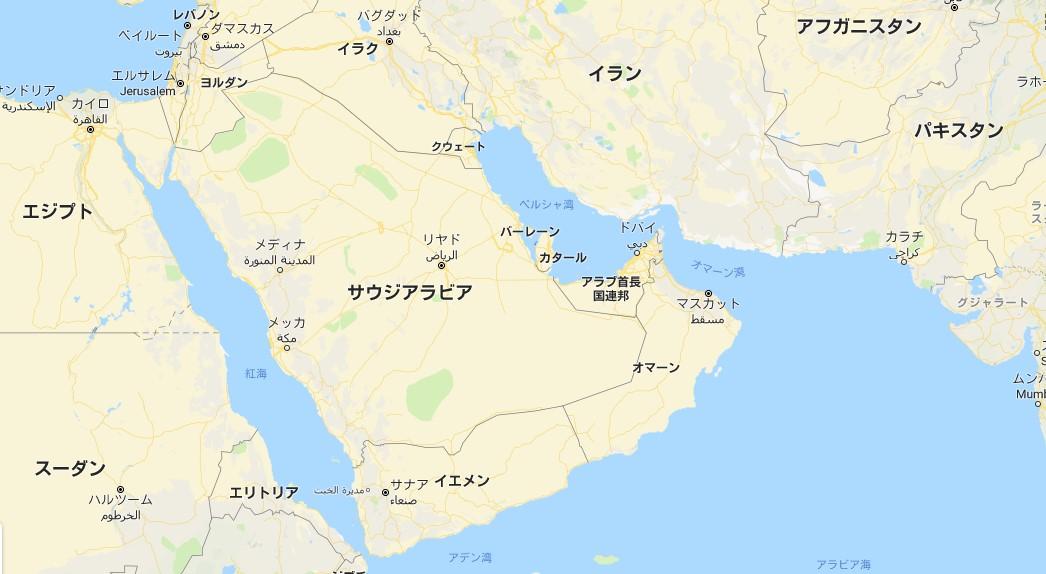 中東におけるアラブ首長国連邦の位置